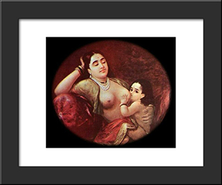 The Suckling Child: Modern Black Framed Art Print by Raja Ravi Varma