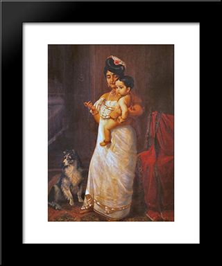 There Comes Papa: Modern Black Framed Art Print by Raja Ravi Varma