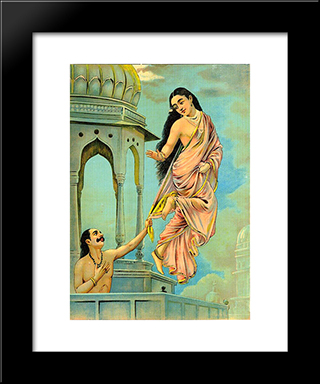 Urvashi And Pururavas: Modern Black Framed Art Print by Raja Ravi Varma