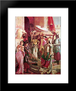 Victory Of Meghanada: Modern Black Framed Art Print by Raja Ravi Varma