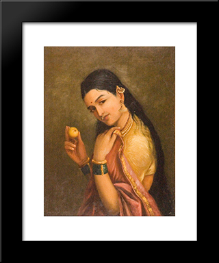 Woman Holding A Fruit: Modern Black Framed Art Print by Raja Ravi Varma