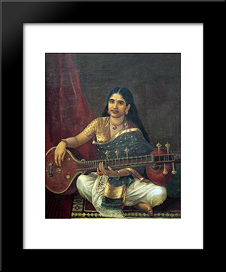 Woman With Veena: Modern Black Framed Art Print by Raja Ravi Varma