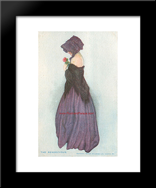 A Girl Holding A Rose: Modern Black Framed Art Print by Raphael Kirchner
