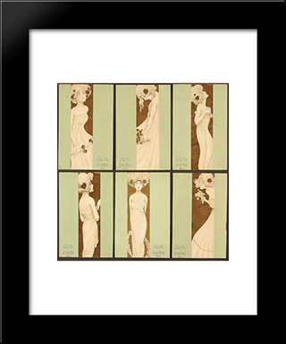 A Half Of A Virgin: Modern Black Framed Art Print by Raphael Kirchner