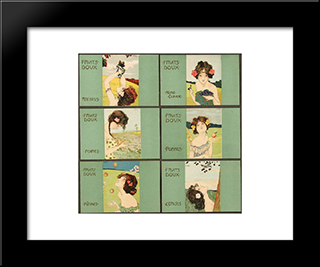 Apples, Sweet Fruits: Modern Black Framed Art Print by Raphael Kirchner