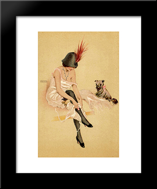 Arugula And His Dog: Custom Black Wood Framed Art Print by Raphael Kirchner