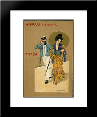 Attack: Modern Black Framed Art Print by Raphael Kirchner