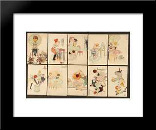 Behind The Scenes: Modern Black Framed Art Print by Raphael Kirchner