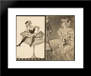 Bellage Of Sect: Custom Black Wood Framed Art Print by Raphael Kirchner