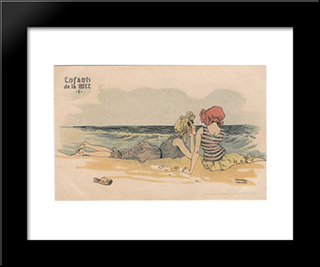 Boys And Girls At Sea: Modern Black Framed Art Print by Raphael Kirchner
