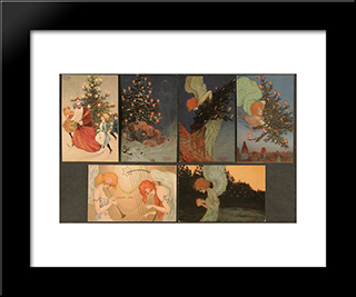 Christmas Pictures Signed With Paris: Modern Black Framed Art Print by Raphael Kirchner
