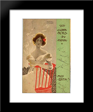 Cigarettes Of The World: Modern Black Framed Art Print by Raphael Kirchner