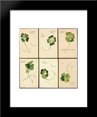 Clovers: Modern Black Framed Art Print by Raphael Kirchner