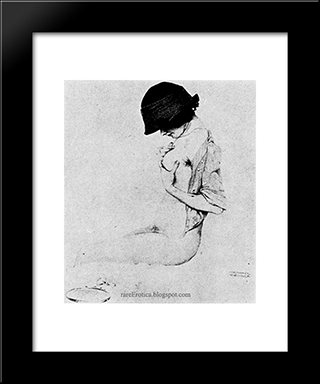 Contemplation: Modern Black Framed Art Print by Raphael Kirchner