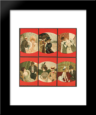 Couples Between Red Borders: Modern Black Framed Art Print by Raphael Kirchner