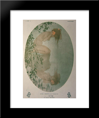 Eve: Modern Black Framed Art Print by Raphael Kirchner