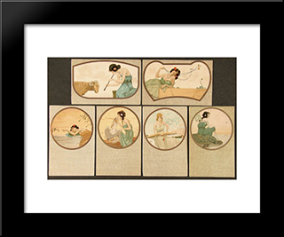 Fables: Modern Black Framed Art Print by Raphael Kirchner