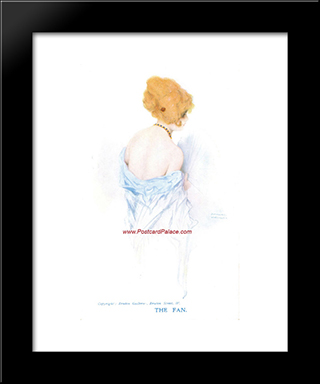 Fan: Modern Black Framed Art Print by Raphael Kirchner