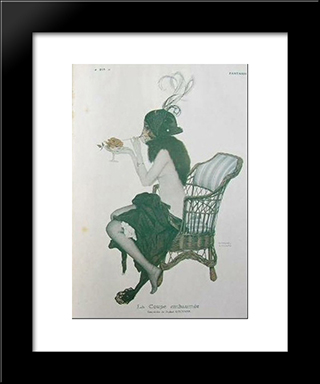 Fantasy: Modern Black Framed Art Print by Raphael Kirchner