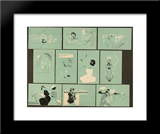 Figures On Turquoise Background: Modern Black Framed Art Print by Raphael Kirchner