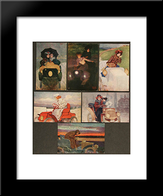 Flashing Motorists: Modern Black Framed Art Print by Raphael Kirchner