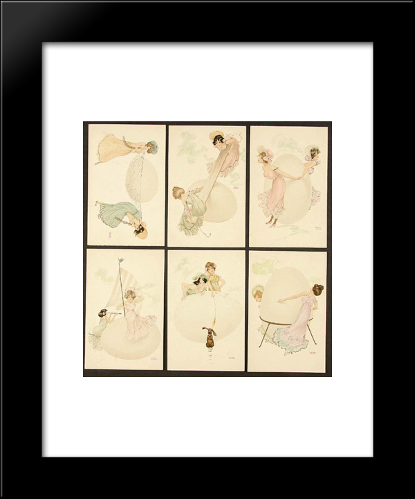 Happy Easter: Modern Black Framed Art Print by Raphael Kirchner