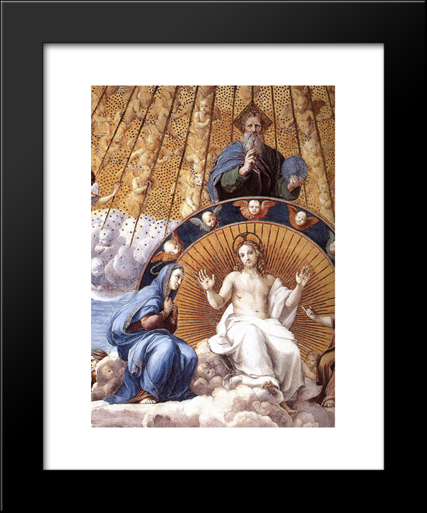 Disputation Of The Holy Sacrament (Detail): Modern Black Framed Art Print by Raphael