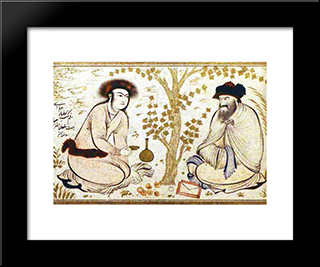 Princely Youth And Dervish (Attributed): Modern Black Framed Art Print by Reza Abbasi