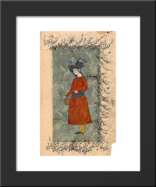 Young Man With A Bottle And A Wine-Cup: Modern Black Framed Art Print by Reza Abbasi