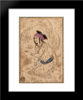 Youth Kneeling And Holding Out A Wine-Cup: Modern Black Framed Art Print by Reza Abbasi