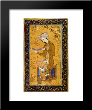Youth Reading: Modern Black Framed Art Print by Reza Abbasi