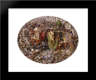 Contradiction. Oberon And Titania: Modern Black Framed Art Print by Richard Dadd