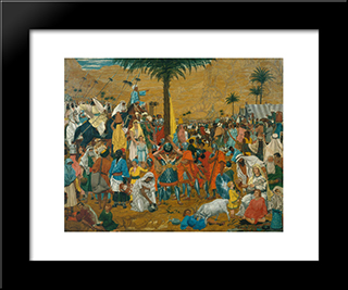 The Flight Out Of Egypt: Modern Black Framed Art Print by Richard Dadd