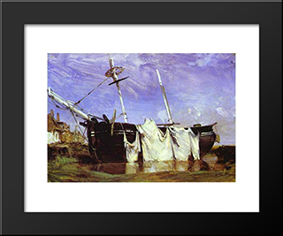 A Boat Beached In A Port At Low Tide: Modern Black Framed Art Print by Richard Parkes Bonington
