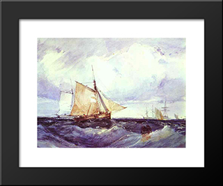 A Cutter And Other Ships In A Strong Breeze: Modern Black Framed Art Print by Richard Parkes Bonington