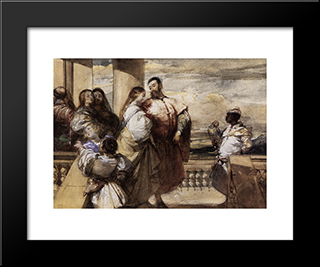 A Venetian Scene: Modern Black Framed Art Print by Richard Parkes Bonington