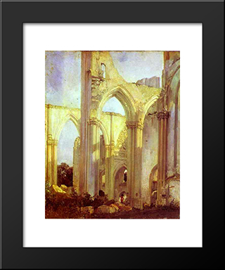 Abbey Of St. Berlin, Near St. Omer: Modern Black Framed Art Print by Richard Parkes Bonington