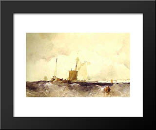 At The English Coast: Modern Black Framed Art Print by Richard Parkes Bonington