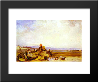 Beach In Normandy: Modern Black Framed Art Print by Richard Parkes Bonington