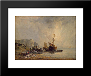 Boats By The Normandy Shore: Modern Black Framed Art Print by Richard Parkes Bonington