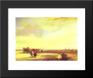 Boulogne Sands: Modern Black Framed Art Print by Richard Parkes Bonington