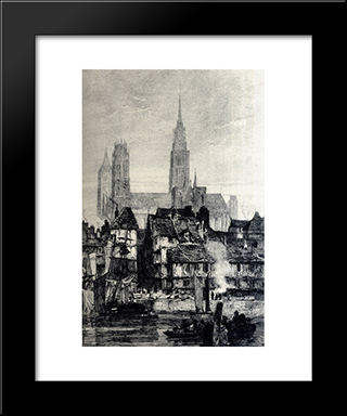 Front View Of The Cathedral: Modern Black Framed Art Print by Richard Parkes Bonington