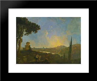 A View Of The Tiber With Rome In The Distance: Modern Black Framed Art Print by Richard Wilson