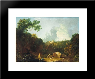 Distant View Of Maecenas' Villa, Tivoli: Modern Black Framed Art Print by Richard Wilson