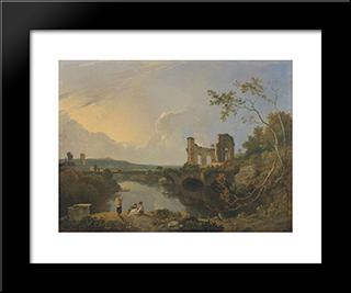 Italian Landscape (Morning): Modern Black Framed Art Print by Richard Wilson