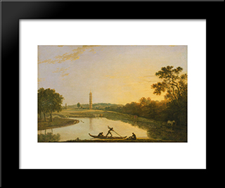Kew Gardens The Pagoda And Bridge: Modern Black Framed Art Print by Richard Wilson