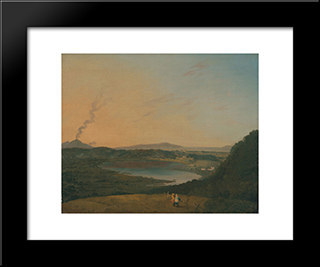 Lago D'Agnano With Vesuvius In The Distance: Modern Black Framed Art Print by Richard Wilson