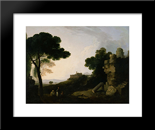 Landscape Capriccio With Tomb Of The Horatii And Curiatii, And The Villa Of Maecenas At Tivoli: Modern Black Framed Art Print by Richard Wilson