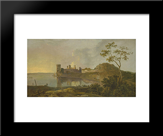 Summer Evening (Caernarvon Castle): Modern Black Framed Art Print by Richard Wilson