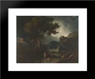 The Destruction Of Niobe'S Children: Modern Black Framed Art Print by Richard Wilson
